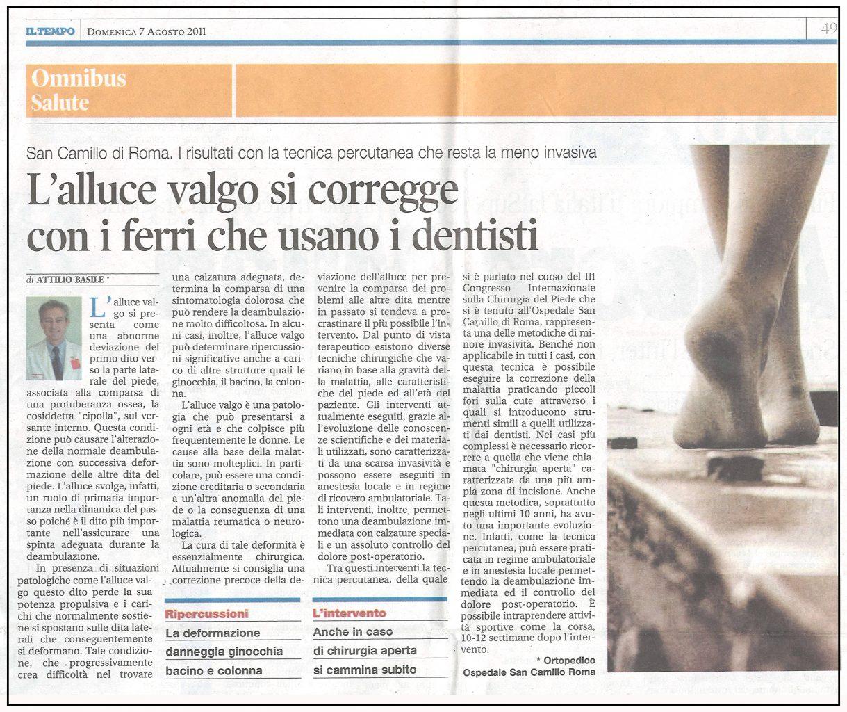 Alluce Valgo Terapie - Intervista del Dottor Attilio Basile - Rassegna Stampa